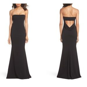 5a8aacd965e Katie May Black Strapless Cutout Back Gown